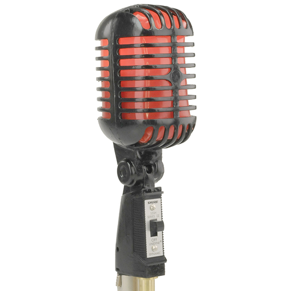 Micro vintage SHURE 55 SH - lumineux rouge - 1950