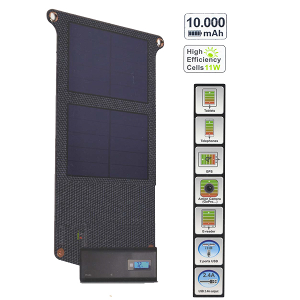 Chargeur solaire OY396 + OY410 - 10.000 mAh - 11 watts - 2 A max