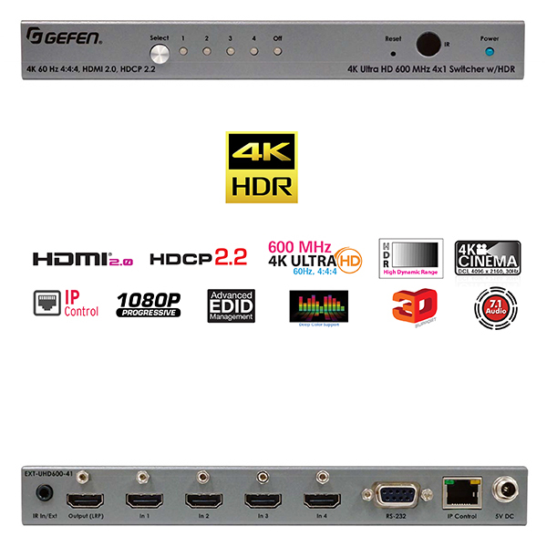 Gefen EXT-UHD600-41 - Selecteur actif - HDMI - 4 out - 4K/60Hz