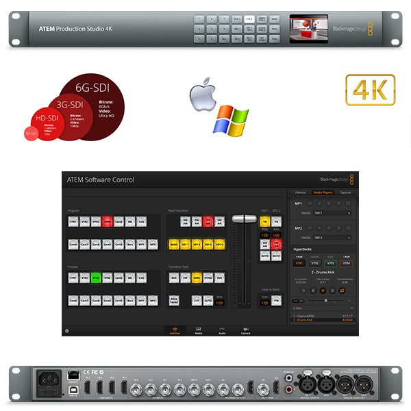 PRODUCTION ATEM STUDIO 4K BLACKMAGIC - Régie 8 in (4 HDMI et 4 SDI)