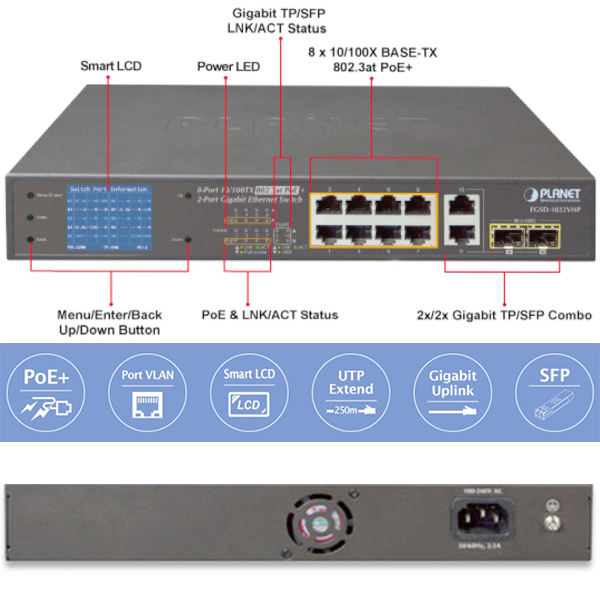 FGSD-1022VHP Planet - Switch 8 ports  - PoE+ - écran LCD - Https ou HDBase T