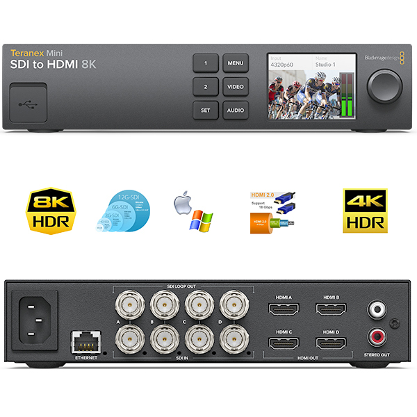 Teranex Mini Blackmagic - SDI vers HDMI 8K HDR - quad images