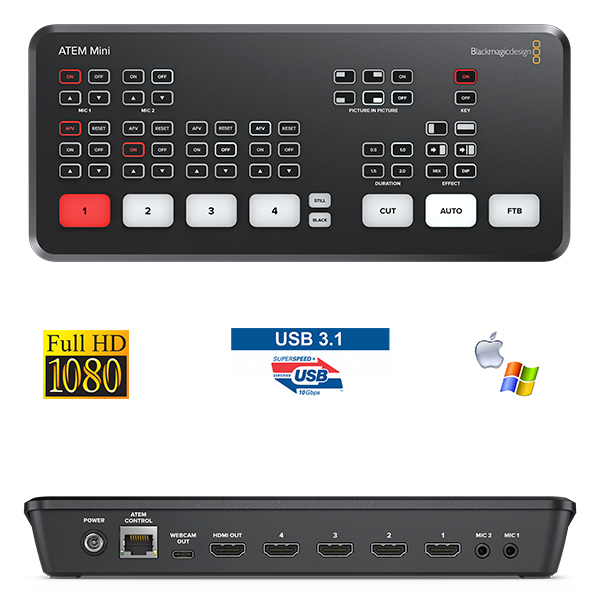 Atem Mini - Blackmagic - 2K - Régie 4 HDMI