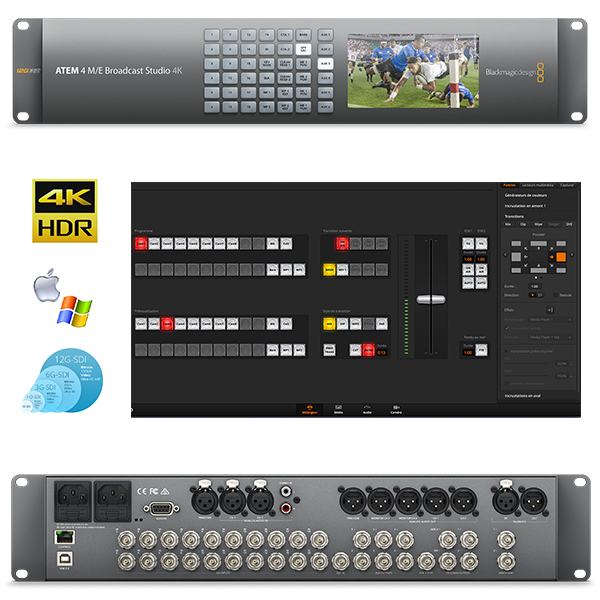 PRODUCTION ATEM 4M/E BROADCAST STUDIO 4K Blackmagic - Régie 20 entrées SDI en 12G