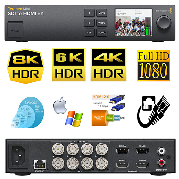 Teranex Mini Blackmagic - solution de monitoring - SDI vers HDMI 8K HDR - quad images